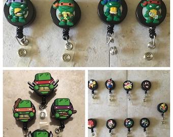 Ninja turtles and Super Mario Brothers id reel, id badges, retractable badge