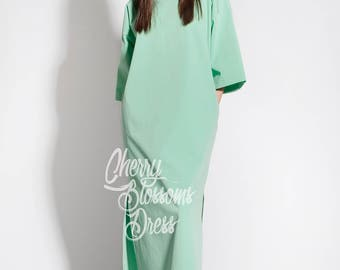 Mint dress/ Elegant dress/ Long sleeve dress/ Maxi Dress/ Summer Maxi Dress/ Day dress/ Plus size dress/ Plus size clothing/ 054.160