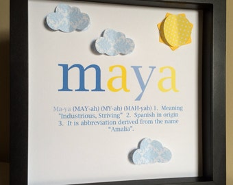 Name and Meaning Art, 3D Paper Art, personalized baby gift, new baby gift, name definition, name meaning art, shadowbox frame, nursery