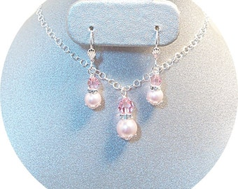 Pink Jewelry Set, Pink Wedding, Necklace Earrings, Bridesmaid Jewelry, Wedding Party Jewelry, Mother of the Bride, Wedding Accessories