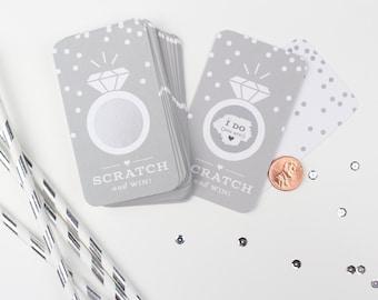 NEW! 24 Scratch-off Cards  // Bridal Shower Game, Scratch-off Game, Bridal Shower Activity, Bachelorette Party Games // Platinum Grey
