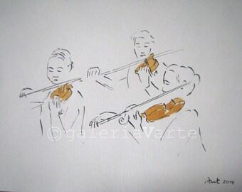 Original ink and watercolor drawing - Violin concert - europeanstreetteam