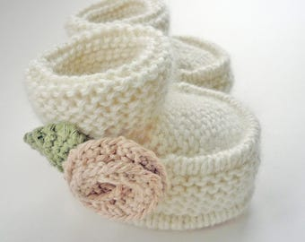 Knitting Pattern Baby Booties, Baby Boots Pattern, Booties Pattern for Baby Girl, PDF Pattern, Instant Download Knit Pattern LITTLE ROSE
