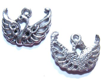 LAST set - 20 mm silver Swan charms x 2