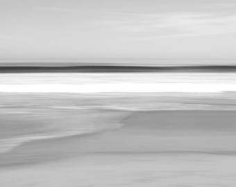 Abstract fine art photography, Black and white photography, large limited edition print, seascape, long-exposure, beach art, Wavelet