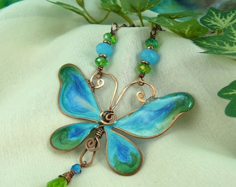 Copper Butterfly Necklace ~ Resin Butterfly Necklace ~ Wire Butterfly Necklace ~ Blue Butterfly Necklace ~ Beaded Butterfly Necklace ~