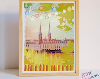 Poster illustrated Bordeaux in summer