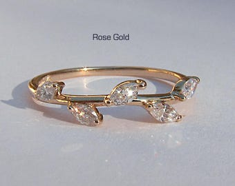 Rose Gold Diamond Leaf Ring ~ Rose, Yellow or White Gold