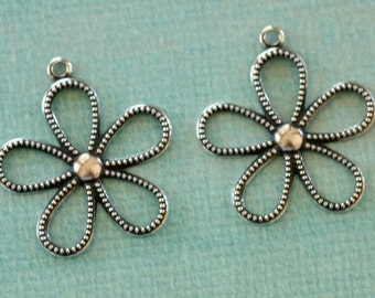2 Silver Flower Charms 2612