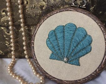 Clam Shell Mermaid Embroidery Hoop Art