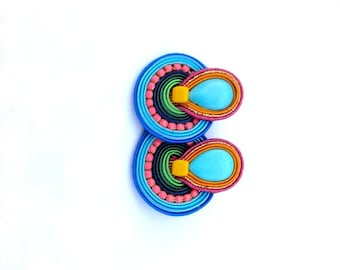 Boho Clip On Earrings, Colorful Soutache Earrings, Handmade Clip On, Hippie Soutache Handmade Jewelry, Clip On Earrings