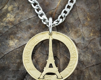 Eiffel Tower Necklace, French Coin, Paris Jewelry