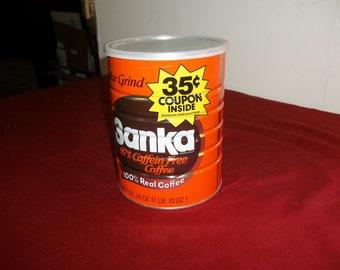 Vintage metal sanka coffee can