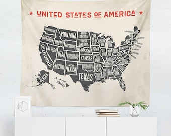 USA Tapestry | US Map Tapestry | USA Wall Decor | United States Wall Decor | America Tapestry | United States of America Tapestry