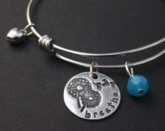 Dandelion Breathe Bangle Bracelet, Breathe charm bracelet, Yoga jewelry, Yoga gift, Breathe gift, Just breathe, Inspirational Jewelry