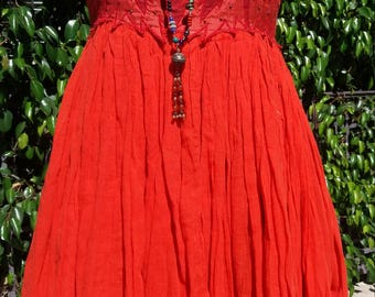Vintage Poppy Orange dress with beaded applique bodice size M