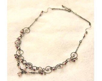 Elegant & Antique Beads Wire Double Necklace