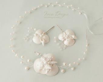 Set of pearl white beach wedding head circlet and pins. Beach wedding hair accessories. Mermaid Headband. Beach Wedding Head Circlet