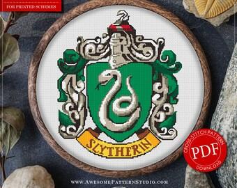 Slytherin Cross Stitch Pattern for Instant Download *P180 | Harry Potter Cross Stitch Pattern| Easy Cross Stitch| Counted Cross Stitch
