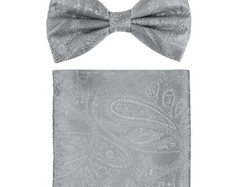 New Men's Paisley Silver Pre-Tied Bowtie and Handkerchief, for Formal Occasions