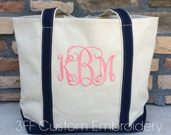 Personalized  Extra-Large Canvas Boat Tote Lots of Colors to Choose from Custom Embroidery