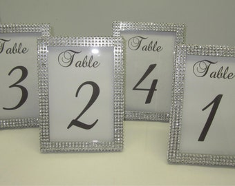 5 x 7 (8) Table Frames with Silver Rhinestone. Wedding, Baby shower, Bridal shower, Quinceñera or special event. Table #'s not included