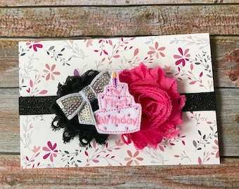 Hot Pink & Black Headband, Firth Birthday Headband, Baby Headband, Newborn Headband, Baby Girl Headband, Headband, 1st Birthday Headband