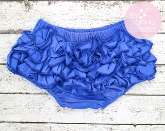 Baby Cotton Bloomers, Royal Blue Ruffle Baby Bloomer, Royal Baby Bloomers, Royal Blue Diaper Cover, Baby Bloomers, Baby Diaper Covers, 2221