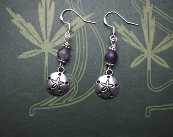Stealth Pentagram Earrings - Sand Dollar & Amethyst with Sterling silver Earwires - Pagan, wicca, witchcraft