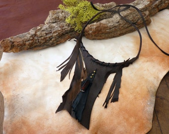 Leather Necklace, Dragons Heart, Game of Thrones, Tribal Fusion, Mother of Dragons, Fall Accessories, Wasteland, Cosplay