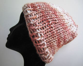 Chunky Hat Beanie Skull Cap Hand Knit Wool Natural Dyed Yarn Peach Ladies - Size Medium