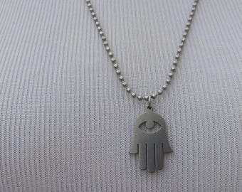 Stainless Steel Hamsa Pendant and Chain, Fatima's Hand Pendant and Chain, Silver color Metal Hamsa Pendant, Hand of Fatima Amulet on a Chain