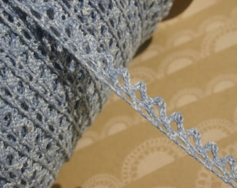 "Denim Blue Cluny Lace - Vintage Trim - Narrow Sewing Crochet Trim - 3/8"" Wide"