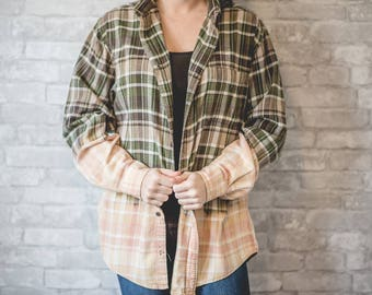 Medium green, brown and white flannel