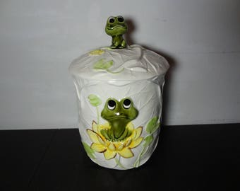 Vintage Sears Roebuck and Co. Neil the Frog Large Ceramic Canister - 1979