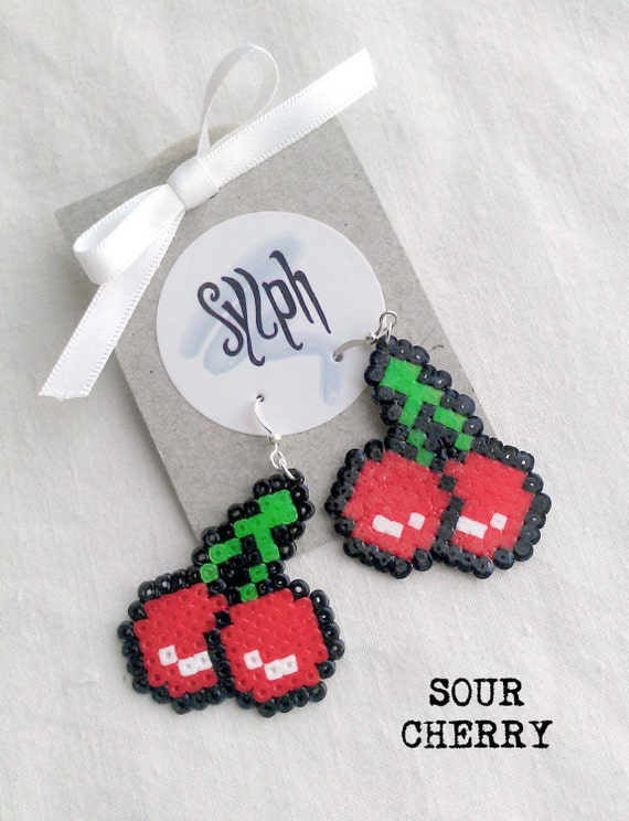 Luscious 8bit pixelated Sour Cherry dangle earrings made out of Hama Mini Perler beads in oldschool retrogames style