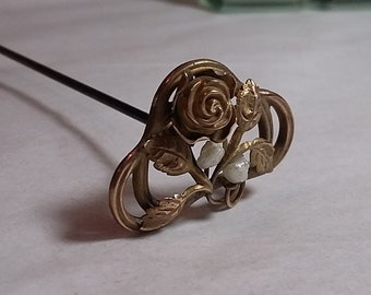 Original Gold Fillled Antique Victorian Floral Hatpin Roses, Freshwater Pearls