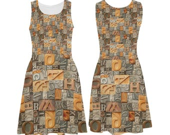 Vintage Metal and Wood Letters Skater Dress - printed photographic letterpress alphabet - USA XS-3XL
