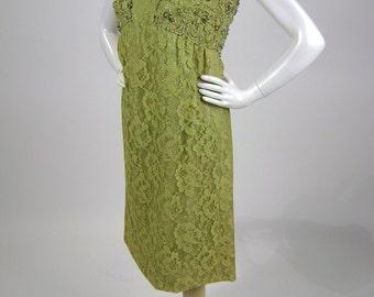 "Vintage 60s Dress, Green Lace Dress, Sleeveless Dress, Green Mini Dress, Empire Waist Dress,  Chartreuse, Acid Green,  B36"", Festival, Boho"