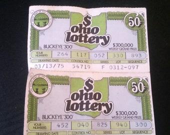4 Vintage Ohio Lottery Tickets 1975