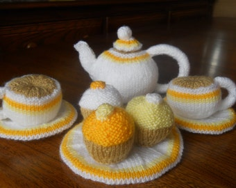play tea set knitted  knitted play food, toy tea set play food,knitted cups knitted plates knitted cupcakes knitted saucers knitted tea pot