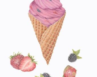 Ice Cream Cone/Strawberry-Blackberry/BOTANICAL-FOOD ILLUSTRATION/Fruit/Archival Giclee Print/Farmers Market