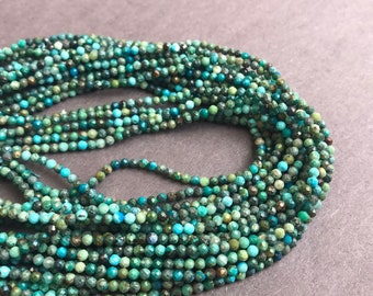 Tiny Chrysocolla Faceted Round Loose Beads 15.5'' Long Per Strand. Size: 2mm R-F-CHR-0104