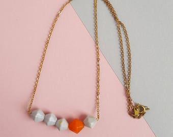Vintage brass glass beaded necklace