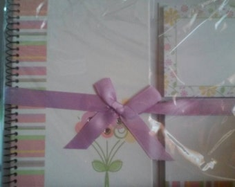 Flower Purple.Pastels Stationary Set Ribbon Sealed includes two sticky pads and a notepad journal Great gift idea
