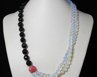 Necklace 22 inch IN Agate faceted opalite and 925 Silver