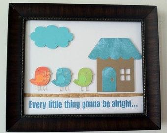 Three Little Birds - Every little thing gonna be alright - Bob Marley - 3D Paper Art  - Child Inspirational - Wall Art - Nursery - Baby