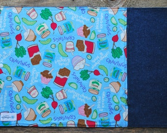 Door-utensils/doily placemat with zippered bag / doily lunch/blue doily with fabric food/work/school doily doily