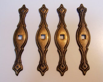 Architectural salvage - vintage set of 4 escutcheon plates for drawer pulls - findings