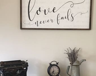 Love is patient sign, 1 Corinthians 13, large wood sign, reclaimed wood sign, christian wall art, love never fails, bible verse wall decor